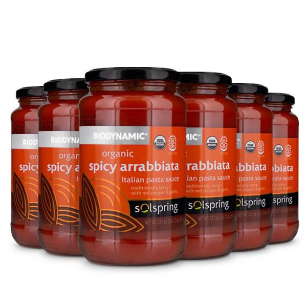 Solspring® Biodynamic® Organic Spicy Arrabbiata Italian Pasta Sauce (19.7 oz per jar): 6 Jars