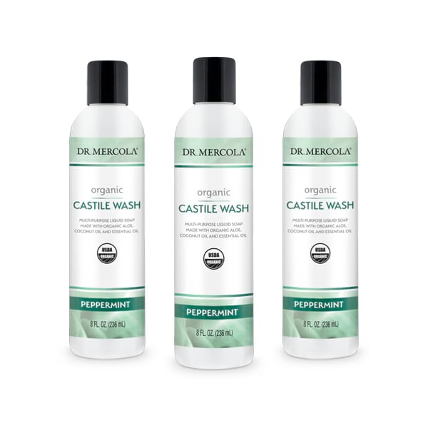 Organic Castile Wash Peppermint (8 fl. oz): 3 Bottles