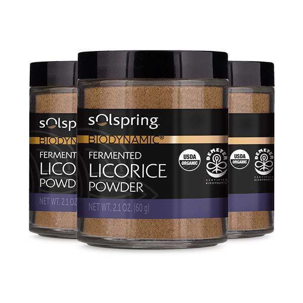 Solspring® Biodynamic® Organic Fermented Licorice Powder (2.1 oz): 3 Jars