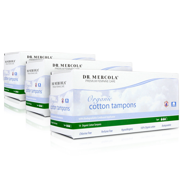 Organic Cotton Tampons - Super (14 per box): 3-Pack