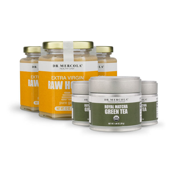 Royal Matcha Green Tea and Pure Gold Raw Honey 6-Pack