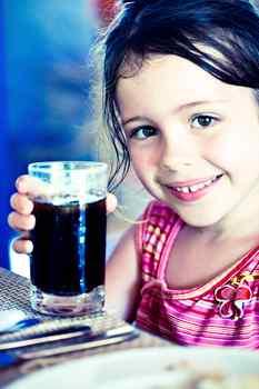 corn syrup, soda, child