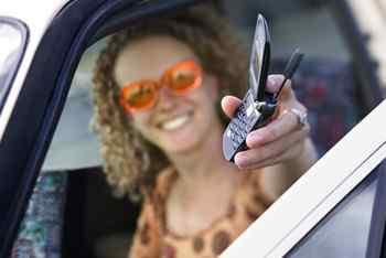 cell phone, car
