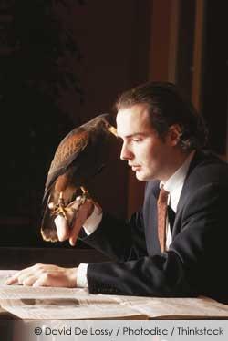 man with Pet bird