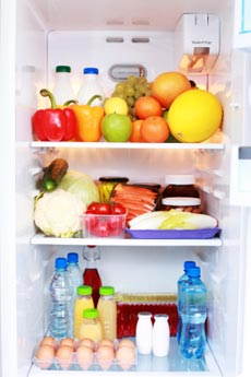 fruits and vegetables in the fridge