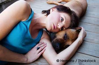 Sad Woman With Pet Dog
