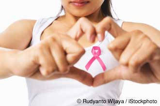Woman with Cancer Awareness Ribbon