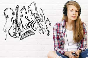 음악을 듣는 여자