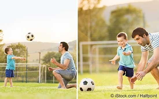 자녀의 스포츠 활동을 격려하는 부모.