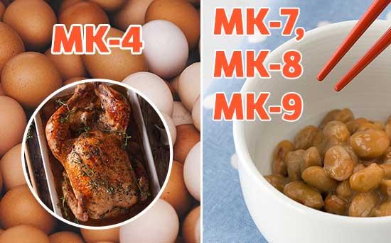식품 상의MK-4 그리고 MK-7, MK-8, MK-9의 성분