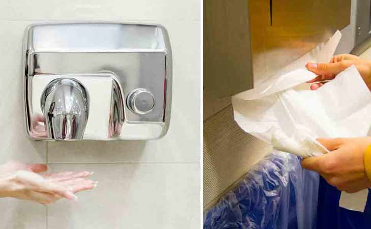 卫生间使用烘手机还是纸巾?