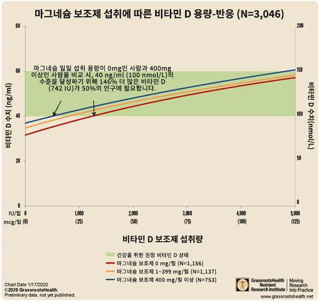 마그네슘 보조제 섭취에 따른 비타민 D 용량-반응