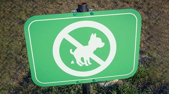 Placa de proibido fezes de animais