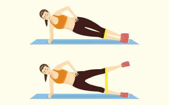 Sollevamento laterale delle gambe con fascia elastica