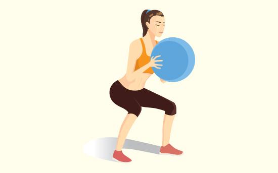 Squat con palla da fitness