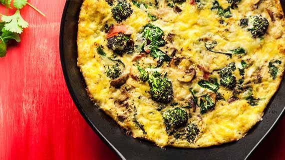 frittata funghi e broccoli