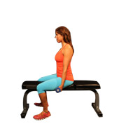 Seated Unassisted Double Curl with Dumbbells